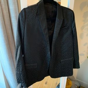 Black Textured Silk Blazer